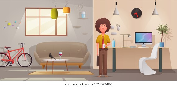 Living room interior. Modern apartment, scandinavian or loft design. Cartoon  illustration. Creative office and home. Comfortable living or working space.