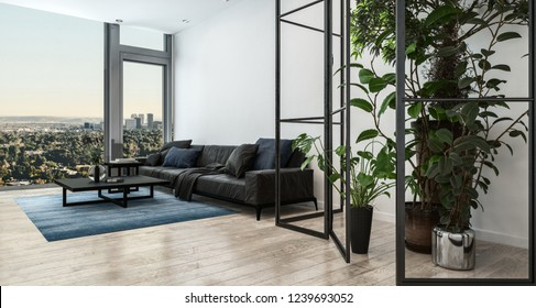 Living room interior with modern couch. 3d Rendering