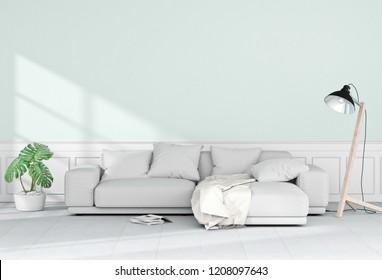 Living room interior in modern style, 3d render
