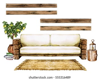 Living Room Interior with Natural Neutral Design - Watercolor Illustration.