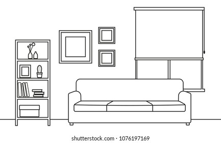 Living room interior outline sketch. Line style interior design with window and furniture: sofa, bookshelf, flowerpot, pictures on the wall.
