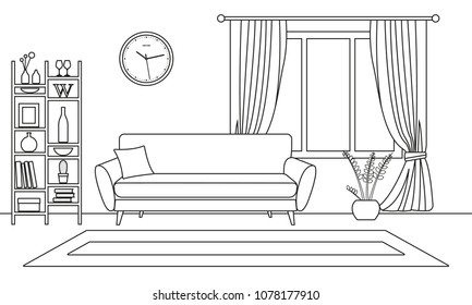 Living Room Interior Outline Sketch Line Style Design With Window And Furniture Sofa