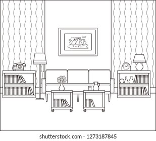 Living room interior sketch. Retro room in line art. Linear vintage illustration. Thin line home space with furniture in flat design. Outline black white house equipment 60s 70s.