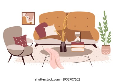 Living room interior. Sofa and lounge chair. Illustration.