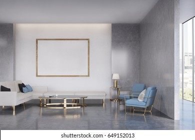 Living room interior with a sofa, two blue armchairs, a small coffee table and a framed poster hanging on a wall. 3d rendering, mock up