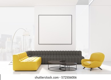 Living room interior with two sofas and an armchair standing around a coffee table. There is a square poster on the wall. 3d rendering. Mock up.