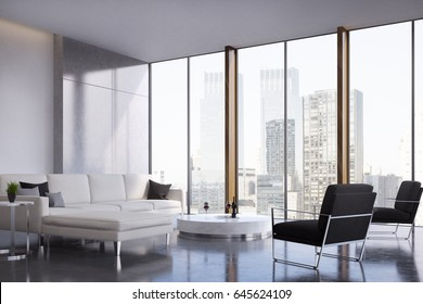 Living room interior with two white sofas standing near a coffee table, a black armchair and a panoramic window. 3d rendering, mock up