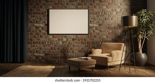 Wohnzimmereinrichtung mit Samtsessel und leerem Rahmen, Lampe, Gitarre und Buch. 3D-Rendering