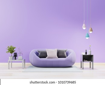 Living room interior with violet sofa and soft light lamp,Ultraviolet design concept ,3D rendering
