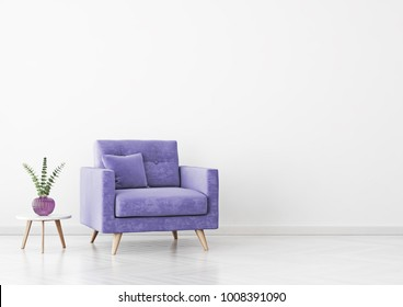 Living room interior with violet velvet armchair, pillow, plant in vase and coffee table on empty white wall background. 3D rendering.