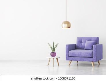Living room interior with violet velvet armchair, pillow, plant in vase, hanging lamp and coffee table on empty white wall background. 3D rendering.