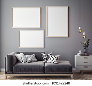 Living room interior wall mock up with velvet sofa, pillows and lamps on white background, 3D rendering, 3D illustration