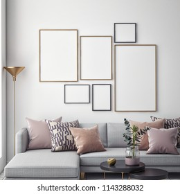 Living room interior wall mock up on white background, 3D rendering, 3D illustration