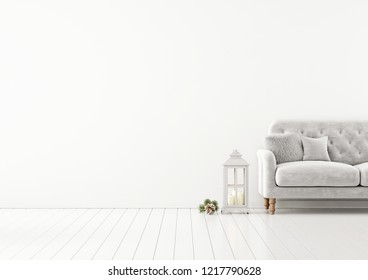 Living room interior wall mock up with grey tufted sofa, fur pillow, lantern and christmas decoration on empty white background. 3D rendering.