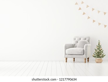Living room interior wall mock up with grey tufted armchair, fur pillow, garland and decorated christmas tree on empty white background. 3D rendering.