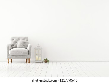 Living room interior wall mock up with grey tufted armchair, fur pillow and lantern on empty white background. 3D rendering.