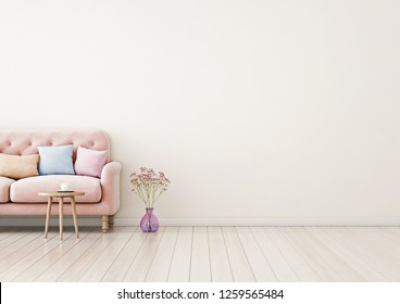 Living room interior wall mock up with pink tufted sofa, multi-colored pastel pillows, coffee table and flowers in vase on neutral empty warm white background. Free space on right. 3D rendering.