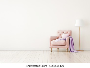 Living room interior wall mock up with pink tufted armchair, pastel pillow, lilac plaid and standing lamp on neutral empty warm white background.  Free space on left. 3D rendering.