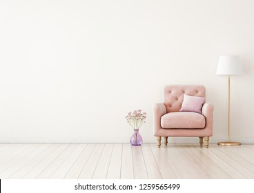 Living room interior wall mock up with pink tufted armchair, pastel pillow, standing lamp and flowers in vase on neutral empty warm white background.  Free space on left. 3D rendering.