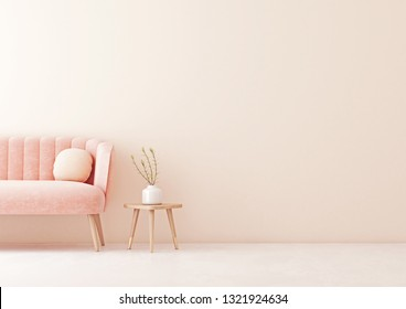 Living room interior wall mock up with pastel coral pink sofa, round pillow, table and plant on empty beige wall background. 3D rendering.