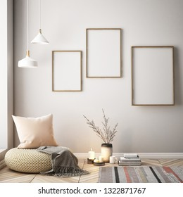 Living room interior wall mock up on white background, 3D rendering, 3D illustration - Illustration