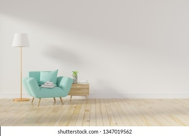 Living room interior wall mock up with pink tufted armchair, pastel pillow, standing lamp and flowers in vase on neutral empty warm white background. Free space on left. 3D rendering. - Illustration