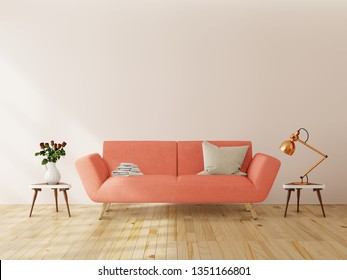 Living room interior wall mock up with pink tufted sofa, multi-colored pastel pillows, plaid and flowers in vase on neutral empty warm white background. Free space on left. 3D rendering.
