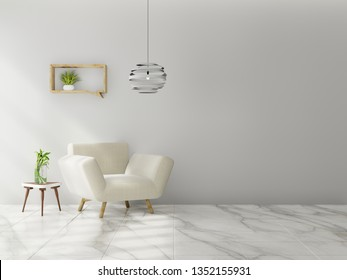 Living room interior wall mock up with sofa, multi-colored pastel and flowers in vase on neutral empty warm white background. 3D rendering.