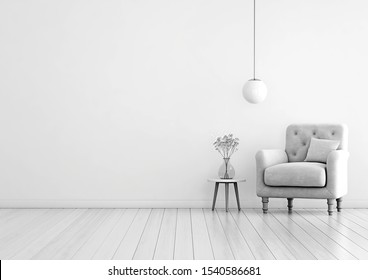 Living room interior wall mock up with tufted armchair, pastel pillow, hanging lamp and flowers in vase on empty warm white background with copy space 3D rendering
