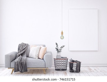 Living room interior wall mock up with gray fabric sofa  pillows on white background, 3D rendering, 3D illustration
