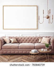 Living room interior wall mock up with velvet sofa, pillows and golden lamp on white background, 3D rendering, 3D illustration