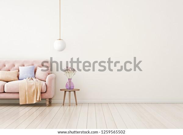 Living Room Interior Wall Mock Pink Stock Illustration 1259565502