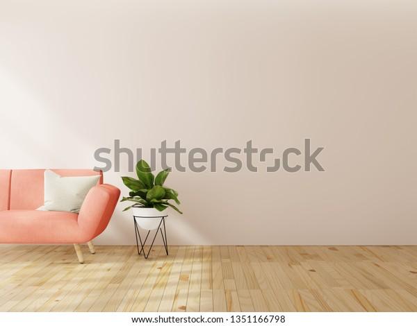 Living Room Interior Wall Mock Pink Stock Illustration 1351166798