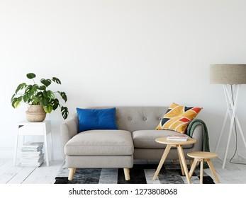 Living room interior wall mockup. Wall art. 3d rendering, 3d illustration.