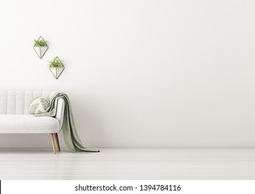 Living room interior wall mockup with gray velvet sofa, round pillow with tropical pattern, green plaid and plants in geometric pots on empty white wall background. 3D rendering, illustration.