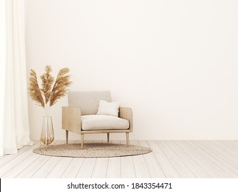Living room interior wall mockup in warm tones with beige linen armchair, dried Pampas grass and woven rug. Boho style decoration on empty wall background. 3D rendering, illustration.