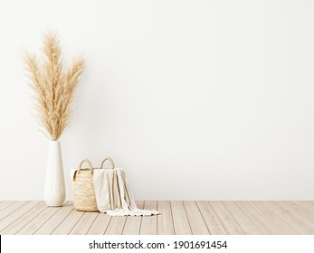 Living room interior wall mockup with woven basket, blanket and dried pampas grass in vase on wooden floor with empty white background. 3d rendering, 3d illustration