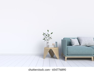 Living Room interior wall mockup with gray fabric sofa and pillows on white background,3d rendering