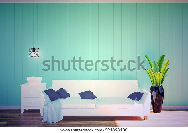 Living room interior - white leather sofa and green wall panel with space in soft filter, 3D rendering