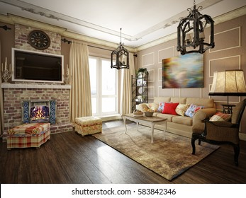 Living room, kitchen and hall in style of Provence, decorated with vintage accessories. 3d render