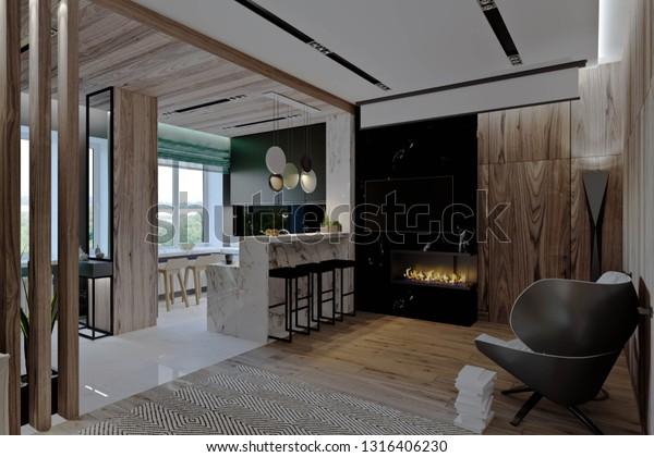 Living Room Kitchen Hallway Dining Room Stock Illustration 1316406230