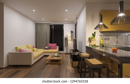 Living Room and Kitchen Illuminated and Furnished 3D Rendering