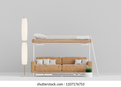 Living room with Leather Sofa cum Bed, Bunk Bed , Minimal Rustic, 3D Rendering