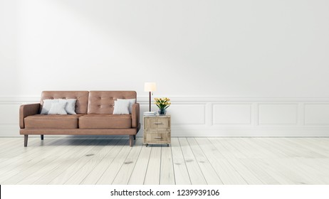 Living room with Leather sofa have pillows, Minimal Rustic, 3D Rendering