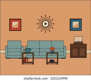 Living room in line art. Retro room interior. Thin line illustration in flat design. Linear vintage home space with sofa, armchair and coffee table. House equipment 1960s.