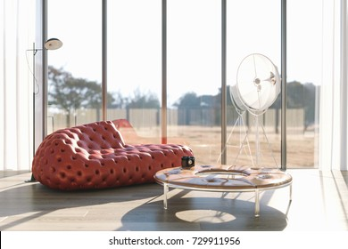 Living room in loft with leather red sofa close up 3d render