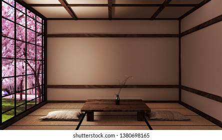 Living room with low table on tatami mat and window view sakura tree,Japanese style. 3D rednering