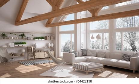 Living room of luxury eco house, parquet floor and wooden roof trusses, panoramic window on winter meadow, modern white interior design, 3d illustration