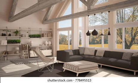 Living room of luxury eco house, parquet floor and wooden roof trusses, panoramic window on autumn meadow, modern white and gray interior design, 3d illustration