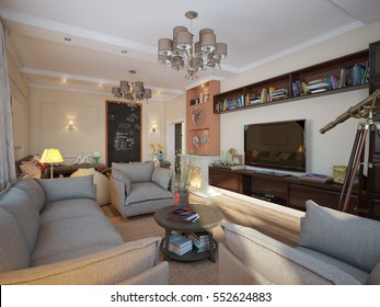 Living room in luxury home with TV zone, fireplace and children's playground. 3d render.